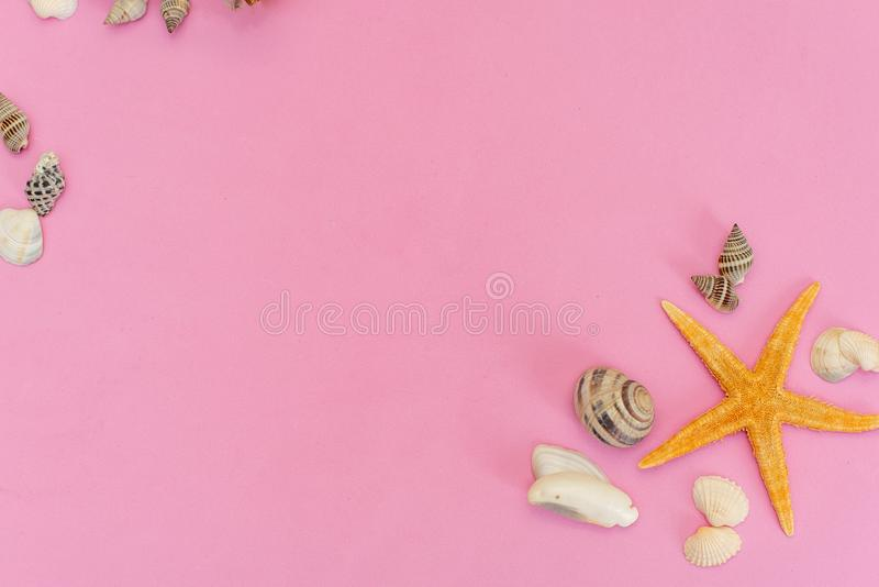 Summer side border of sand, sea shells and star fish on pink wooden background stock photos