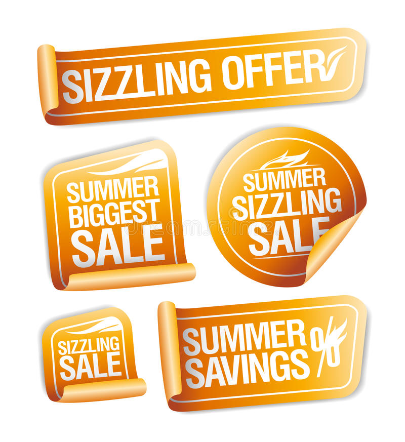 Summer sizzling offers, savings and sale stickers. Set vector illustration