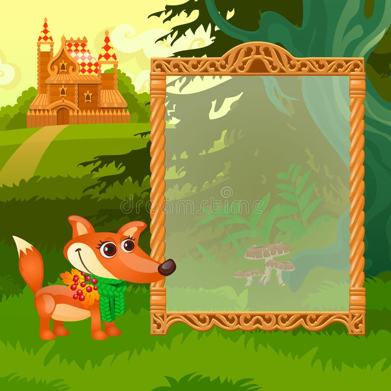 Summer sketch with space for your text on the background of lawn with the castle. Sample of greeting card, festive. Poster or party invitations. Vector royalty free illustration