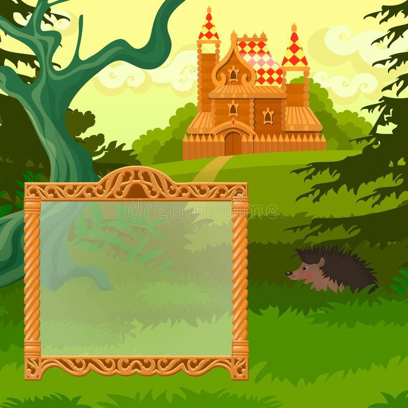Summer sketch with space for your text on the background of lawn with the castle. Sample of greeting card, festive. Poster or party invitations. Vector stock illustration