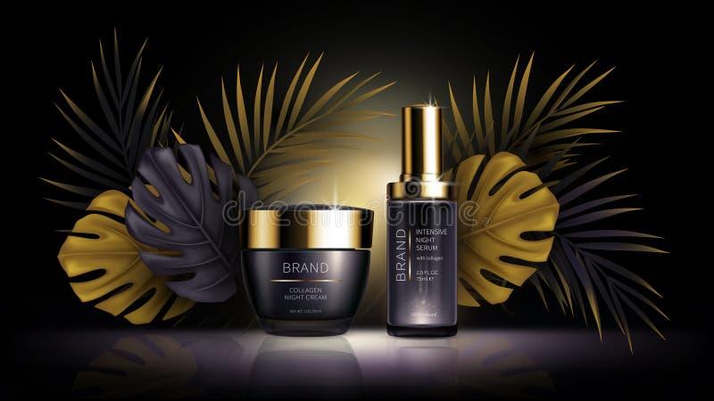 Summer skin care cosmetics, tropic vector vector illustration