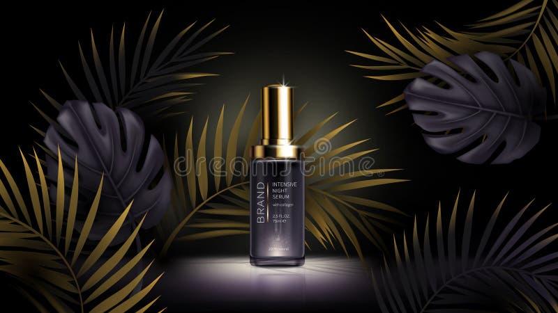 Summer skin care cosmetics, tropic vector stock illustration