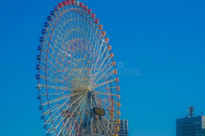 Summer sky and Ferris wheel. Shooting location :Yokohama-city kanagawa prefecture royalty free stock images