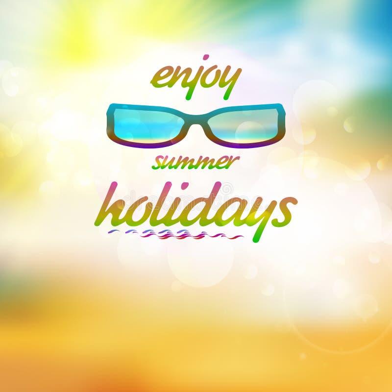 Summer sky with sun wearing sunglasses. vector illustration