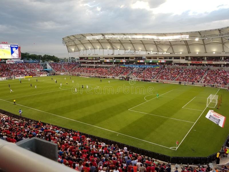 Summer soccer game stock photo