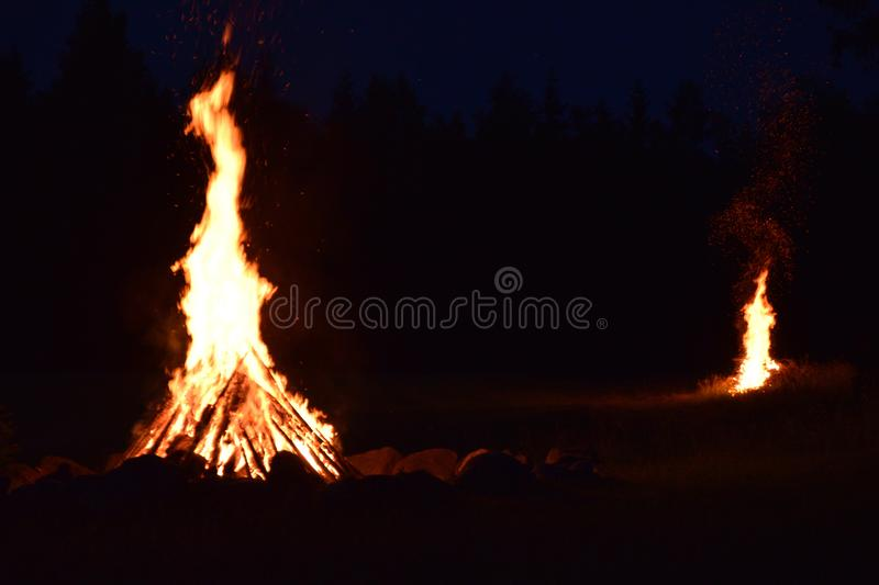 Summer solstice celebration in Latvia. Summer solstice celebration in Latvia, `Ligo` firewood on a midsummer night royalty free stock images