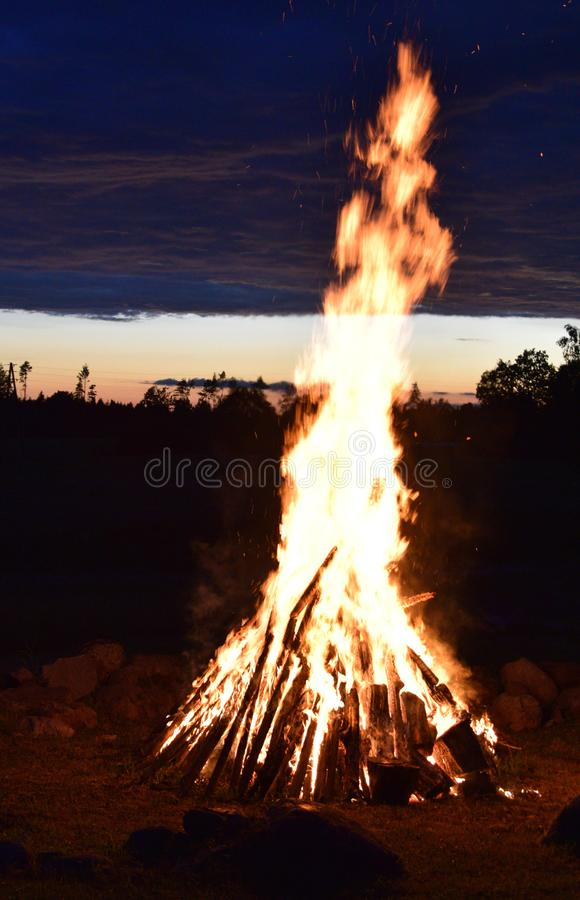 Summer solstice celebration in Latvia. Summer solstice celebration in Latvia, `Ligo` firewood on a midsummer night stock photos