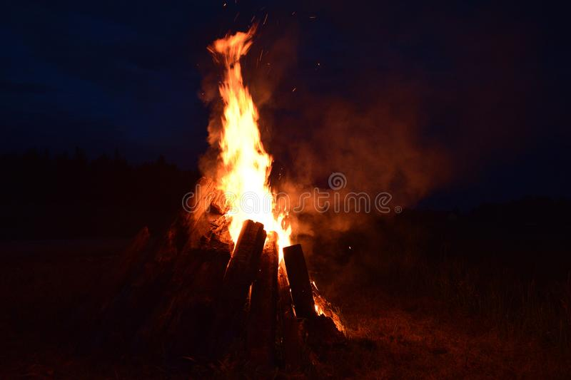 Summer solstice celebration in Latvia. Summer solstice celebration in Latvia, `Ligo` firewood on a midsummer night royalty free stock photos