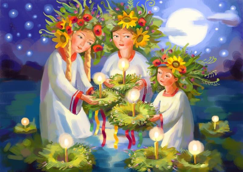 Summer solstice. Midsummer Day royalty free illustration