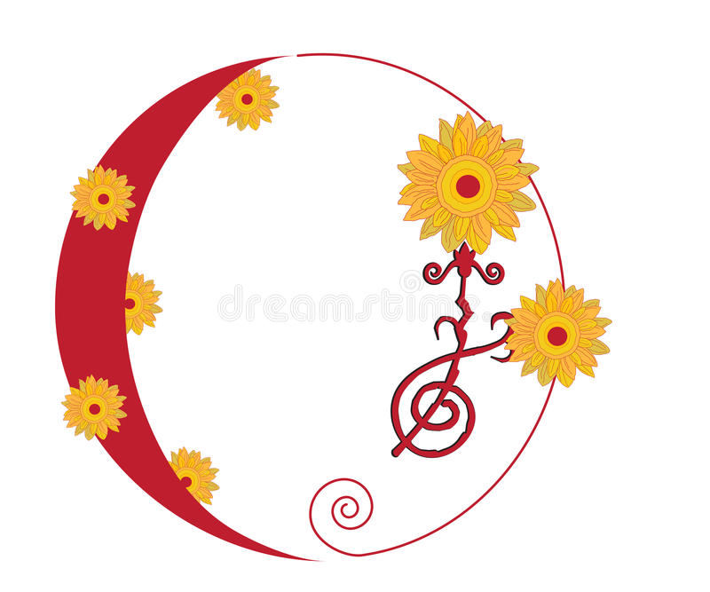 summer solstice yellow sun flowers red strokes stock vector rh dreamstime com
