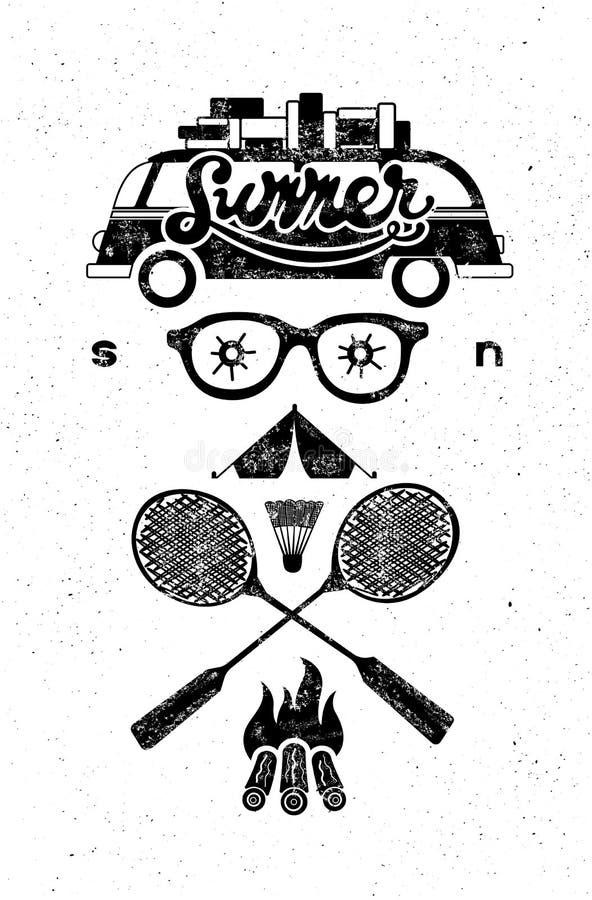 Summer soon. Typographic retro grunge poster. Black-white set of typography design elements for tourism. Vector illustration. Summer soon. Typographic retro vector illustration