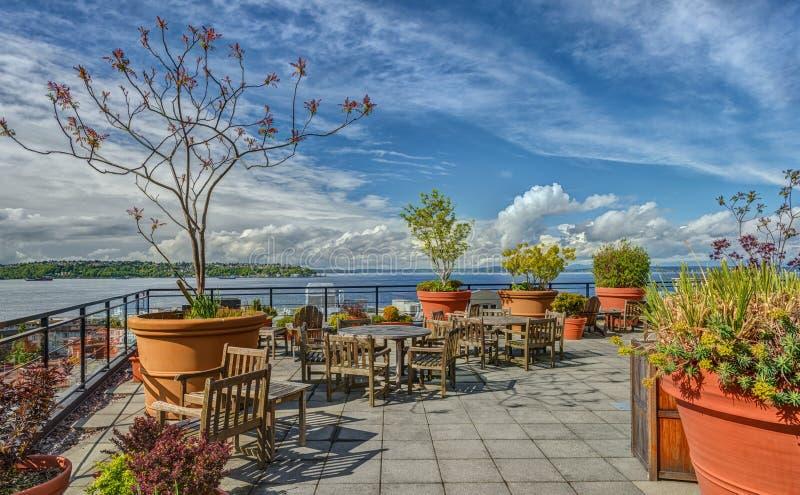 Rooftop Patio overlook Seattle's Waterfeont stock photo