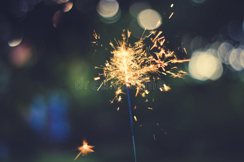 Summer sparkler. Sparkler with beautiful background on a summer evening stock photography