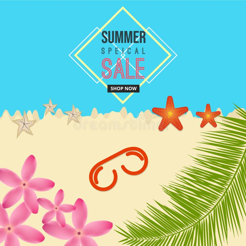 Summer special sale sea beach background with flower, sun-glass, starfish, coconut tree elements. vector illustration