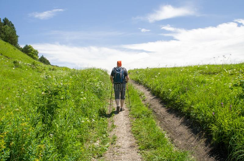 Summer sport - nordic walking. Man hiking on green Sunny mountain meadow. Active man outdoors. Beautiful healthy summer fitness stock photo