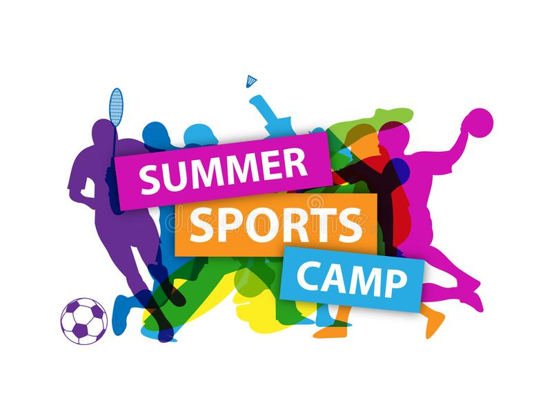 `SUMMER SPORTS CAMP` banner with silhouettes taking part in various sports. `SUMMER SPORTS CAMP` banner with silhouettes showing people taking part in various vector illustration
