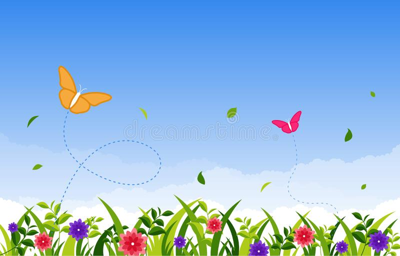 Summer Spring Blooming Flower Nature with Butterfly Park Background.  stock illustration