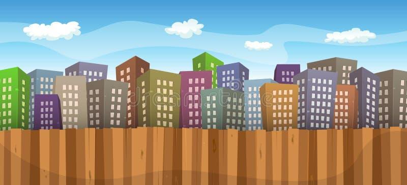 Summer Or Spring Cityscape Background vector illustration