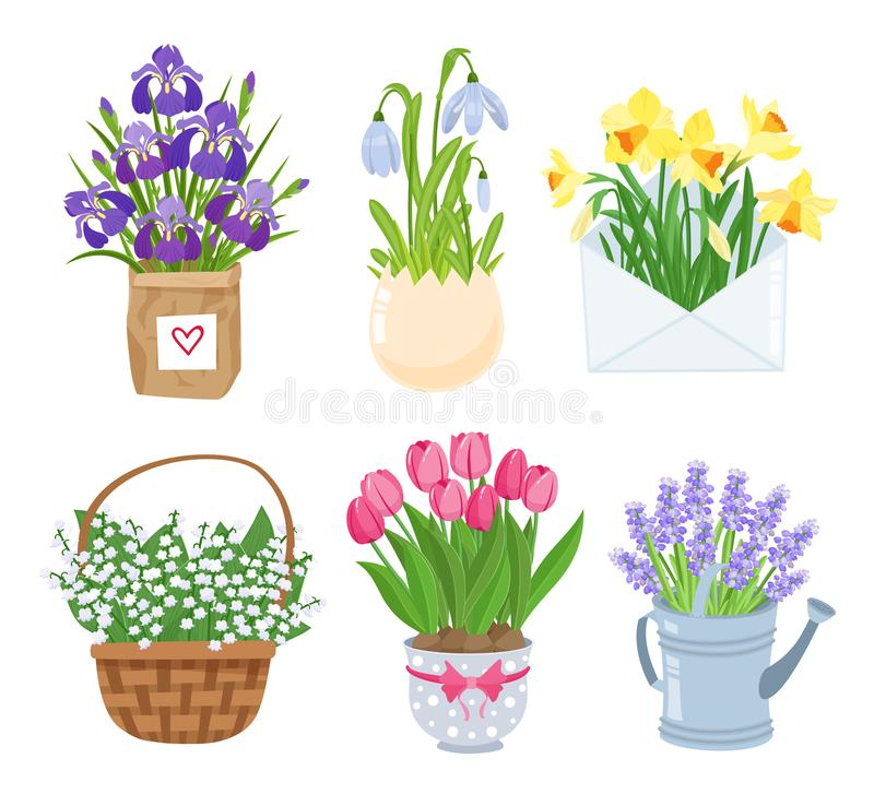 Summer and spring flowers in different funny pots decoration set. Decoration for easter, wedding invitation, Mother s vector illustration