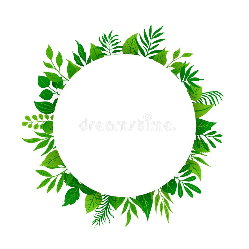 Summer spring green leaves branches twigs plants foliage greenery round circle frame with place for text. Isolated vector illustration stock illustration