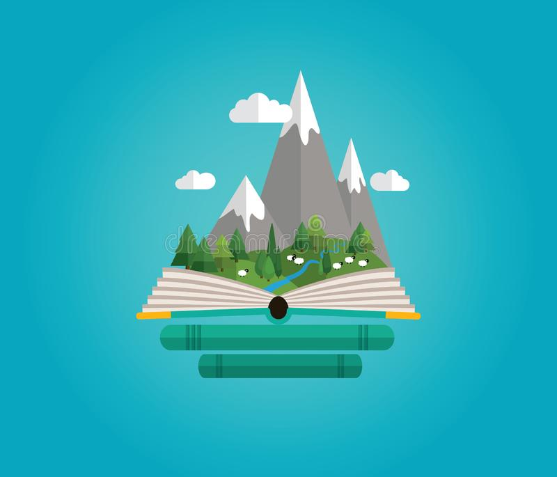 Summer, spring mountains landscape. Fairy tale story royalty free illustration