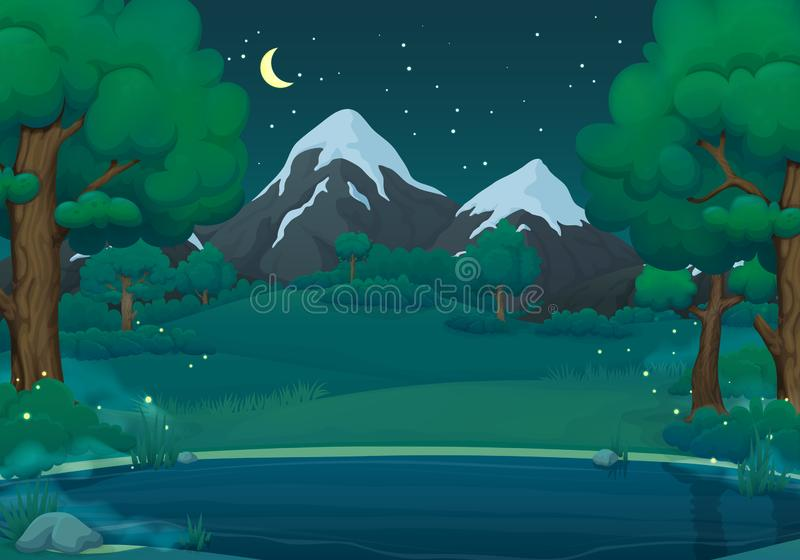 Summer, spring night vector illustration. Misty lake or river with fireflies, green trees and mountains. Summer, spring night vector illustration. Misty lake or royalty free illustration