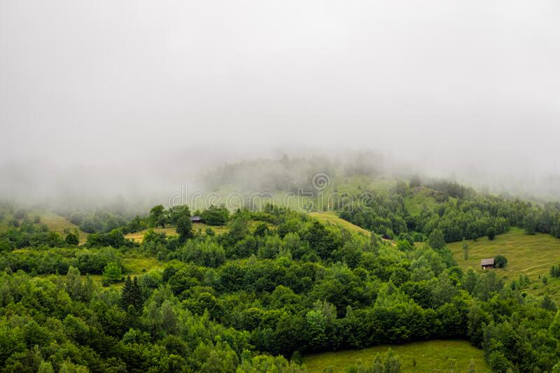 Summer / spring panoramic landscape of a hill forest in Moieciu de Jos, Brasov, Transylvania, Romania.  royalty free stock photography