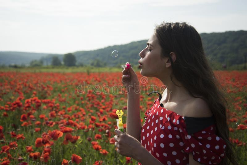 Summer, spring, poppy flower. Opium poppy, youth, freshness, ecology, woman. Drug, opium, narcotics, carelessness Poppy Remembrance day Anzac Day Woman blow royalty free stock photography