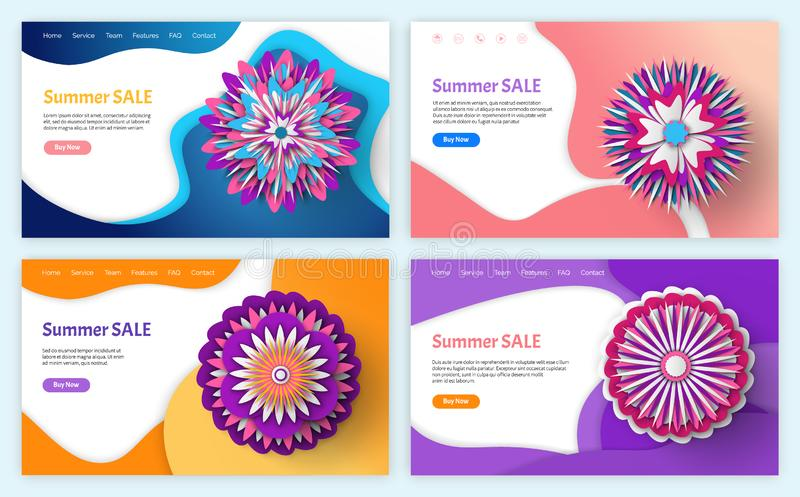 Summer and Spring Sale and Discounts Websites stock illustration