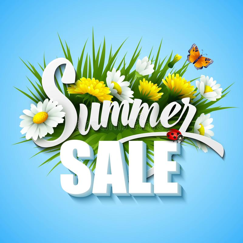 Summer And Spring Sale Template Vector stock illustration