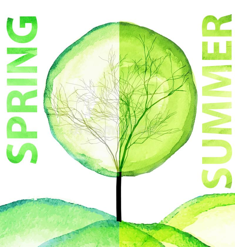 Summer and spring watercolor concept. Seasonal trees art vector illustration. Isolated on white background royalty free illustration