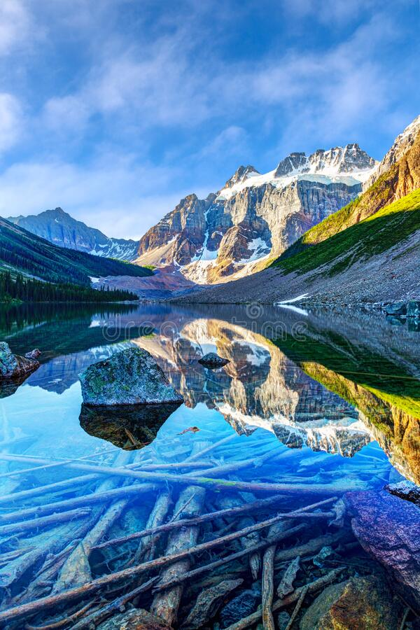 Free Summer Staycation Discovery At Consolation Lake With Visible Glacier On Mount Quadra, Alberta, Canada Stock Photos - 193513853