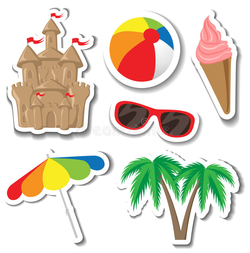 Summer sticker set. With sandcastle, palm tree, ice cream, sunglasses, umbrella and ball on white royalty free stock images