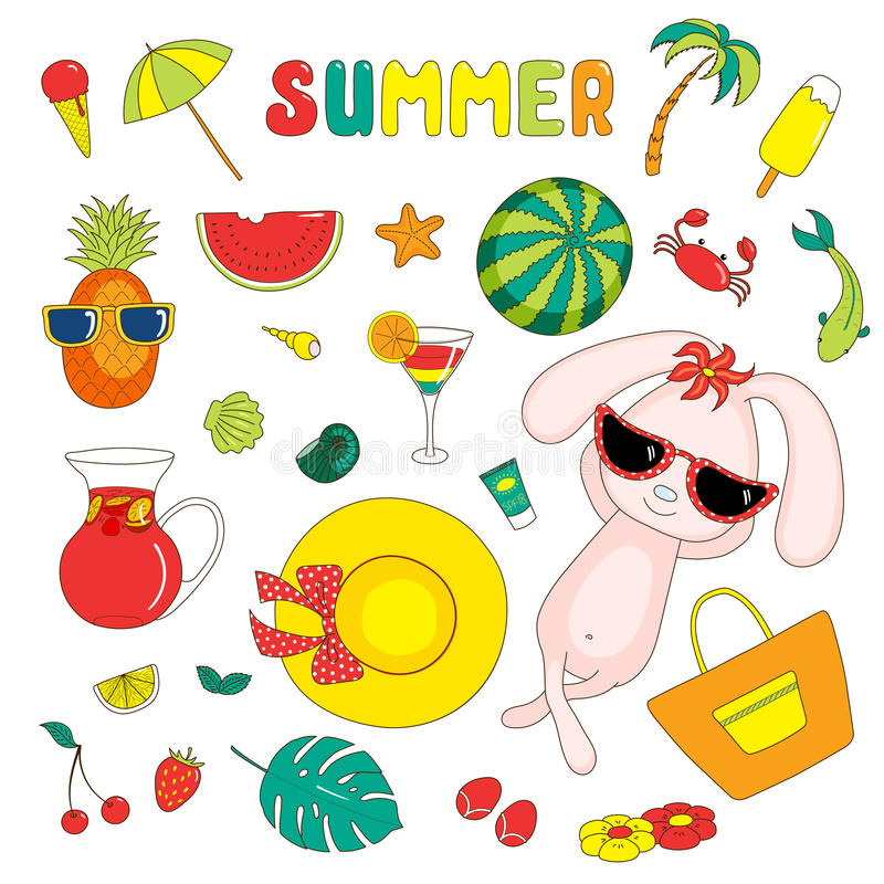 Summer stickers with bunny royalty free illustration