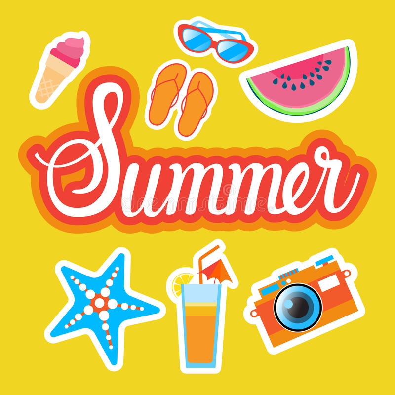 Summer Stickers Set Social Media Network Message Badges Design royalty free illustration