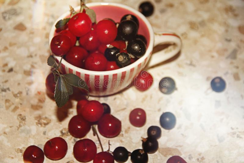 Summer still life of ripe juicy berries stock photos