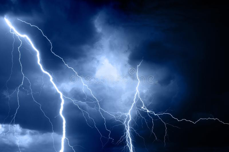 Summer storm bringing thunder, lightnings and rain stock images