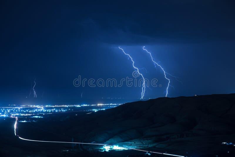 Summer storm bringing thunder, lightnings and rain. Baku. Azerbaijan stock photography