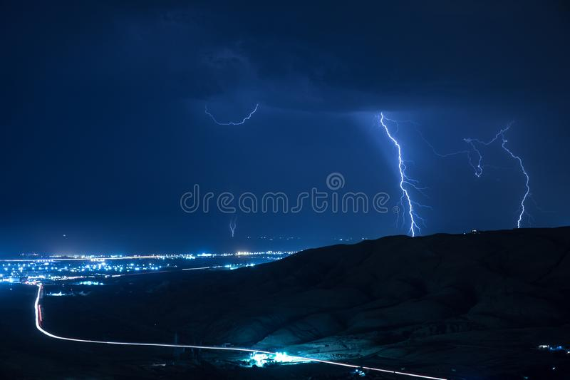 Summer storm bringing thunder, lightnings and rain. royalty free stock images