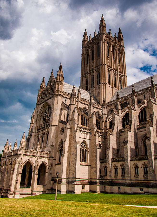 Summer storm clouds over the Washington National Cathedral, DC royalty free stock images