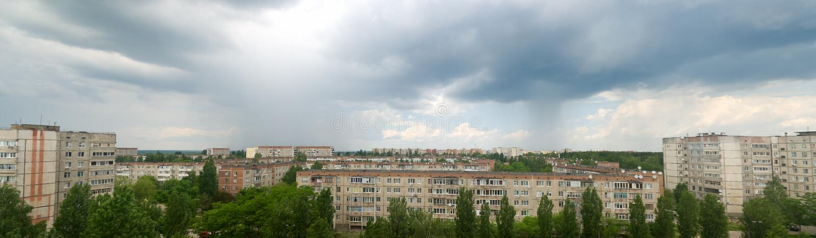 Summer storm with rain over the city royalty free stock photo