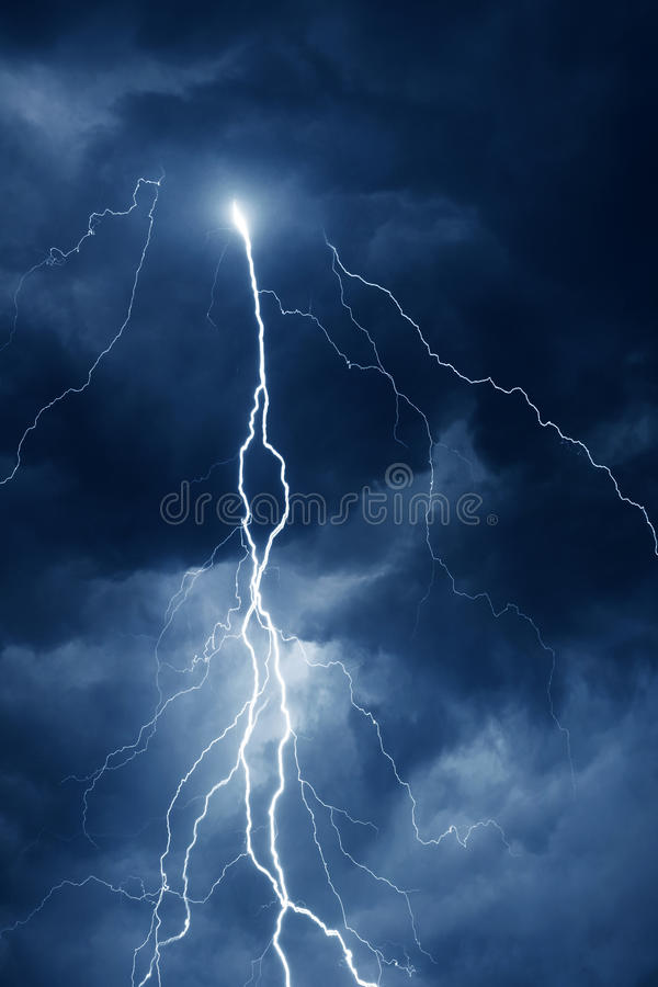 Summer storm with thunder, lightnings and rain at night.  stock images
