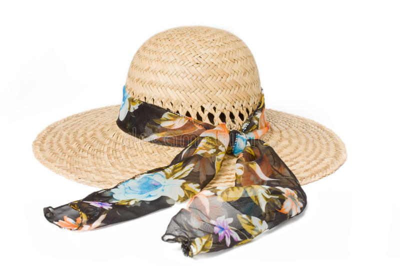 Summer straw hat with a bow stock photo