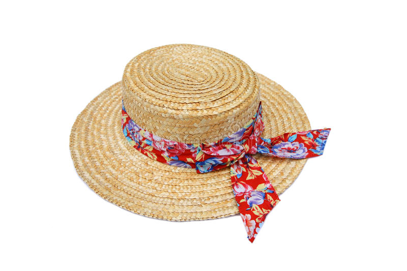 Summer straw hat isolated on white royalty free stock image