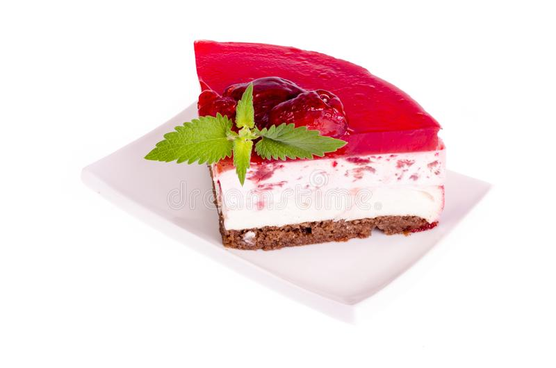 Summer strawberry mousse cake with fresh berries on white background. stock photos