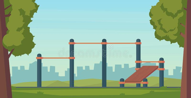Summer street workout park for fitness and strength training. City sport place. Element and equipment for urban outdoor. Training. Flat illustration vector illustration