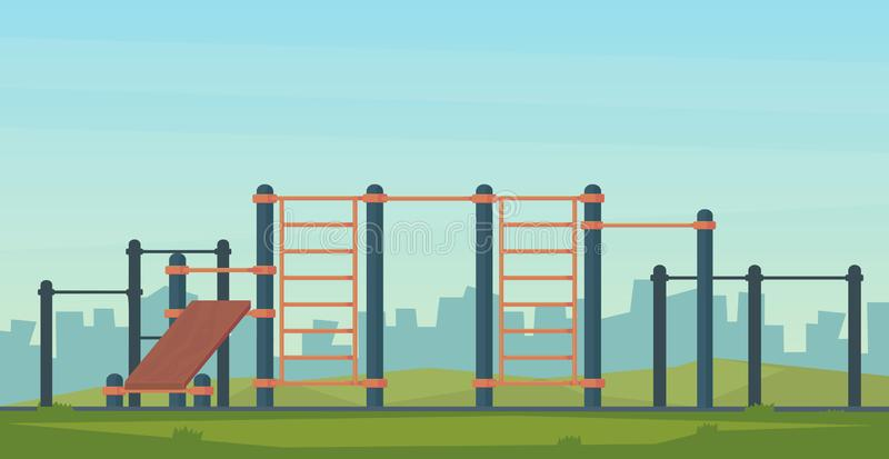 Summer street workout park for fitness and strength training. City sport place. Element and equipment for urban outdoor. Training. Flat illustration stock illustration