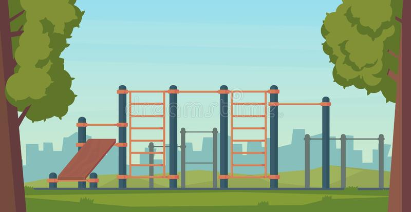 Summer street workout park for fitness and strength training. City sport place. Element and equipment for urban outdoor. Training. Flat illustration royalty free illustration