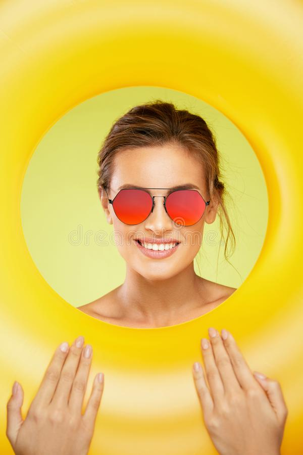 Summer Style. Woman In Fashion Sunglasses. royalty free stock photography