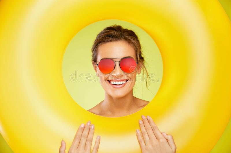 Summer Style. Woman In Fashion Sunglasses. stock images